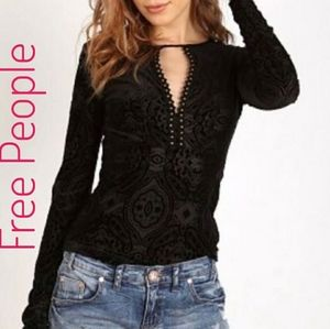 Free People Black Velvet Lace Burn Out Top